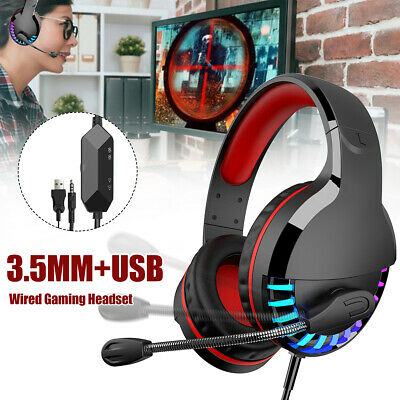 AU19.17 • Buy  Heavy Bass USB Wired Headset RGB Over-Ear Gaming Headphone With Microphone