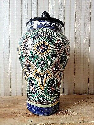 £110 • Buy Antique MOROCCAN VASE Large  Fez Type Majolica Large Islamic Caligraphy Signed