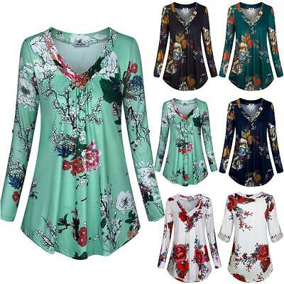 AU13.58 • Buy Womens Floral Swing Tunic Tops Ladies V-Neck Casual Long Sleeve Blouse T Shirts