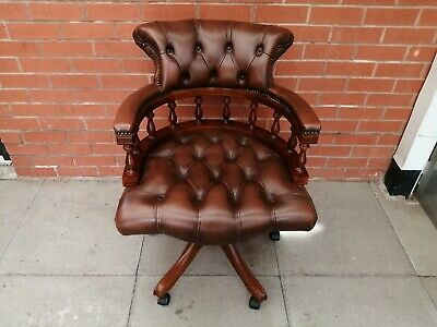 £365 • Buy A Brown Leather Chesterfield Captains Chair