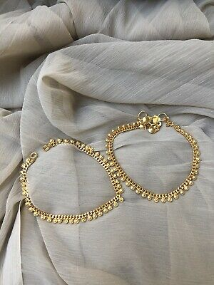 £11 • Buy 22ct Stunning Gold Plated Anklet Ankle Chain Indian Payal Bollywood Pair