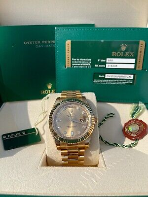 £39995 • Buy 2015 Rolex Day-Date II 218238 Yellow Gold Box And Papers
