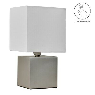 £17.99 • Buy PAIR 2 X Modern Touch Table Lamp Silver / Grey Cube Base Lighting Bedside Light
