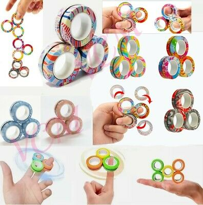 AU8.25 • Buy Magnetic Ring Finger Spinner Fidget Toy Sensory Anxiety Stress Relief Fidget Toy