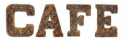 Free Standing Wooden Hand Carved Geometric Cafe Letter Sign Shabby Chic Plaque • 33.92£