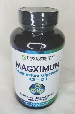 £10.61 • Buy Trio Nutrition Magnesium Glycinate With K2 D3 Vitamin Chelated MCT Oil Magximum