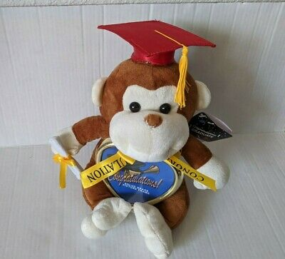 $ CDN12.08 • Buy Graduation Monkey Plush Stuffed Animal Red Cap Diploma 13'' Brown Graduate Gift