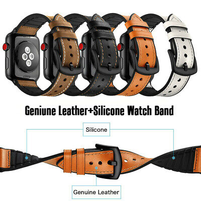 AU17.99 • Buy 2 IN 1 Leather+Silicone IWatch Band Strap For Apple Watch Series 6 5 4 3 40/44mm