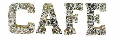 Free Standing Mango Wood Hand Carved White Flower Cafe Word Letter Sign Plaque • 33.92£