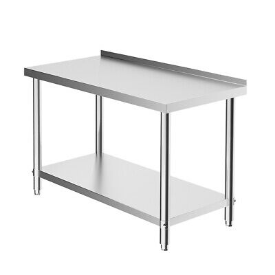 £138.99 • Buy 4ft Stainless Steel Work Bench Catering Prep Table Kitchen Top With Backsplash