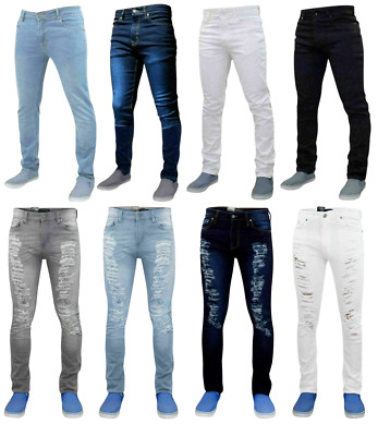 $ CDN22.21 • Buy Mens Slim Fit Jeans Denim Branded Distressed Stretchy Pants New Ripped Trousers