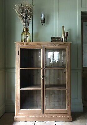 £795 • Buy Vintage Solid Pine Display China Bookcase Drinks Cabinet Cupboard