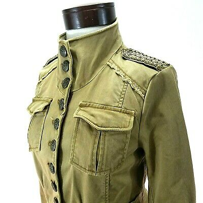 $64.97 • Buy FREE PEOPLE Military Cropped Jacket Khaki Brown Button Up Beaded Women's XS $198