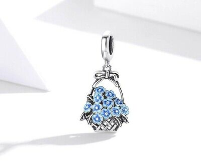 AU25.95 • Buy BLUE FLOWER BASKET S925 Sterling Silver Charm By Charm Heaven NEW