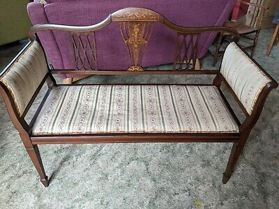£320 • Buy Antique Settee - Mahogany Marquetry Inlaid Two-seat Couch