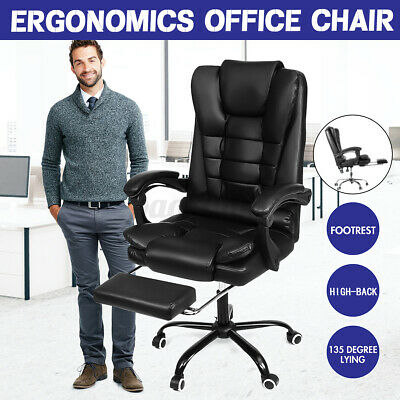 AU107.86 • Buy Executive Office Chair Computer Gaming Chair High Back Leather Recliner Footrest