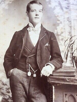 Cabinet Photo Handsome Young Man Albert Chain Fobs By Hudson & Co Birmingham   • 1.50£