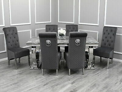 £1419 • Buy Rani Grey Marble 200CM Dining Table + Lucy Grey Lion Knocker Velvet Chairs