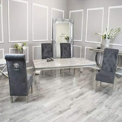 £799 • Buy Louis Smoke White Marble 140CM Dining Table + Lucy Lion Knocker Velvet Chairs