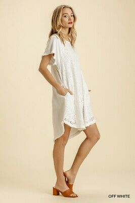 £28.36 • Buy Umgee White Floral Lace High Low Hem Dress Size S M
