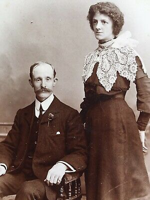 Cabinet Photo Couple Woman Lace Collar Fashion Dress By Fred Of Manchester • 1.50£