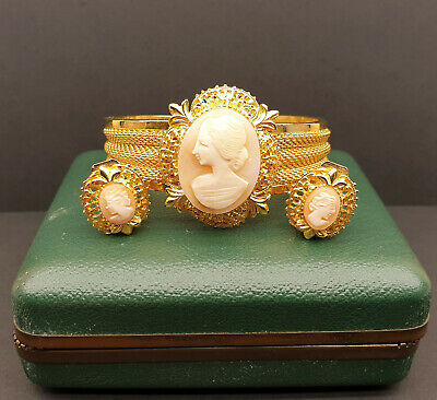 Beautiful Vintage Italian Gold Plated Cameo Bracelet And Earrings Set With Box • 43£