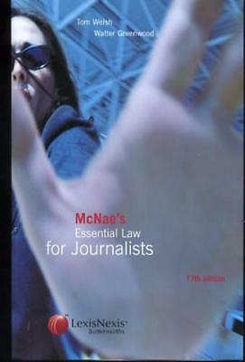 £17.50 • Buy McNae's Essential Law For Journalists, Welsh, Tom; Greenwood, Walter; McNae, L.C