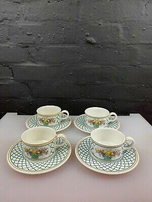 £59.99 • Buy 4 X Villeroy And & Boch Basket Tea Cups And Saucers 2 Sets Available