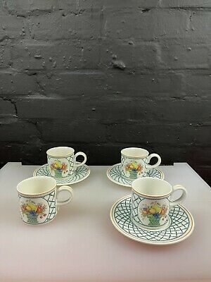 £49.99 • Buy 4 X Villeroy And & Boch Basket Coffee Cups And 3 Saucers