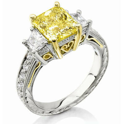 3.40 Ctw Canary Fancy Yellow Radiant Cut With Trapezoids Diamond Ring VS2 14K • 16,531.11£