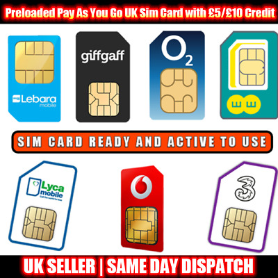 £4.95 • Buy Preloaded Pay As You Go UK Sim Card With £5/£10 Credit For EE O2 Vodafone Lyca