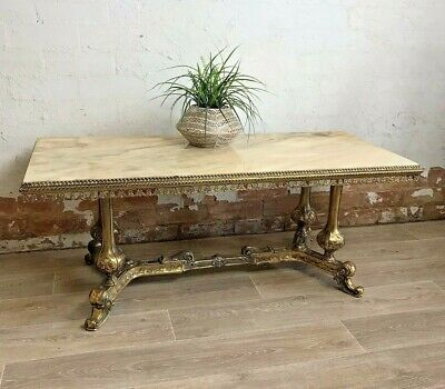 AU395 • Buy Vintage Italian Heavy Brass And Marble Coffee Table