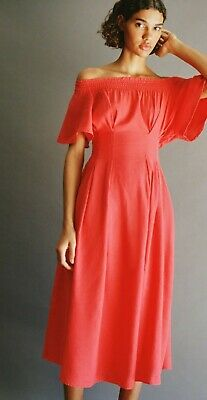 AU34.08 • Buy Zara Red Off Shoulder Linen Mix Dress(L) NEW