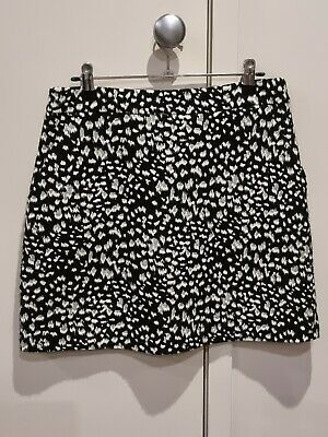 AU18 • Buy Forever New Size 10 Black Leopard Print A Line Skirt Womens