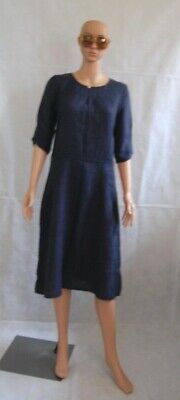 BRORA Navy Textured Linen Shift Tea Midi Dress 12 • 45£