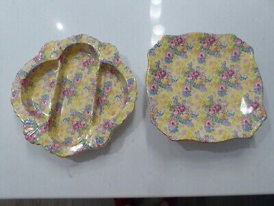 $ CDN95 • Buy Royal Winton, Welbeck Patt. Chintz Divided Dish & Footed Plate