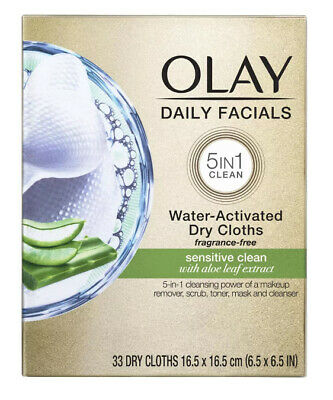 AU19.31 • Buy NEW OLAY Daily Facials Sensitive Clean 5 In 1 Water Activated 33 Dry Cloths