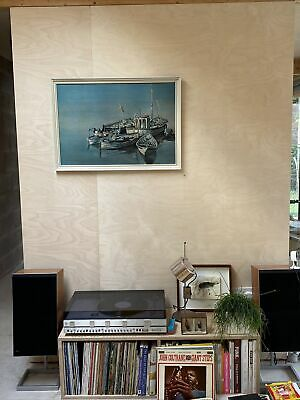 """£95 • Buy """"Calm Moorings"""" Print Picture By Rowland Hilder Vintage Boots Frame Mid Century"""