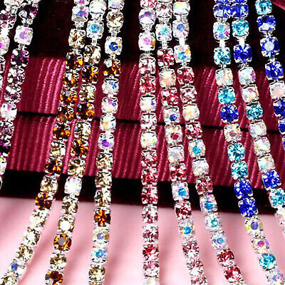 £1.49 • Buy 2MM And 3 MM  Mix Colours Diamante Rhinestone Clear Crystal Chain Silver Base #2