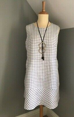 Brora - 100% Linen, Black & White Summer Dress - Size UK 16 • 19.99£