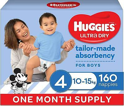 AU96 • Buy Huggies Ultra Dry Nappies Boy Size 4 (10-15kg)1 Month Supply 160 Count