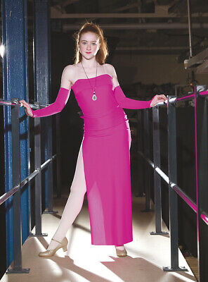Bright Pink Long Split Cabaret Style Song & Dance Costume Size 3 Adult Small • 5£