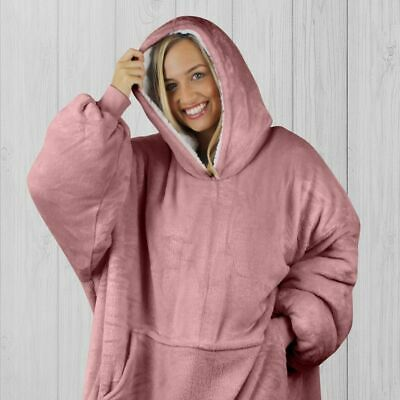 $ CDN50.51 • Buy HOODIE BLANKET By SNOOGIE Double Layer 430GSM Thick Super Warm Adult Pink