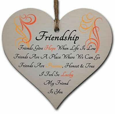 £3.49 • Buy Handmade Wooden Hanging Heart Plaque Gift Perfect For Your Best Friend Friendshi