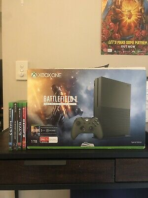 AU200 • Buy Xbox One S Limited Edition Battlefield 1 Military Green Console 1TB + 4 Games