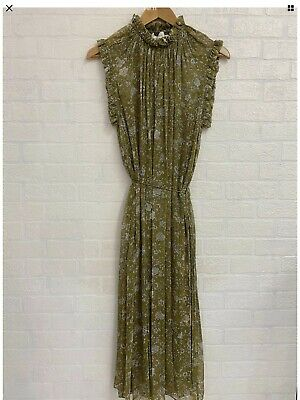 AU320 • Buy Zimmermann Ruffle Trimmed Green Floral Print Silk Dress With Slip Size 2