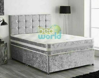 £164.89 • Buy Classic Crush Velvet Bed Set With A Deep Memory Mattress And Diamante Headboard