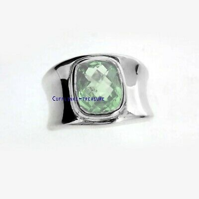 £65 • Buy Natural Green Amethyst Gemstone With 925 Sterling Silver Ring For Men's