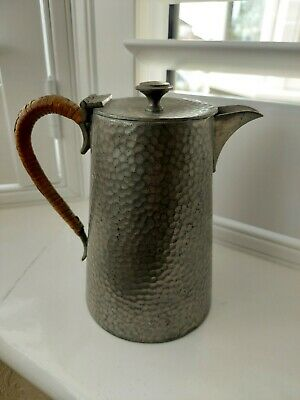£12 • Buy Vintage Argent Pewter Small Hinged Lidded Jug With Rattan Handle,used For Displa