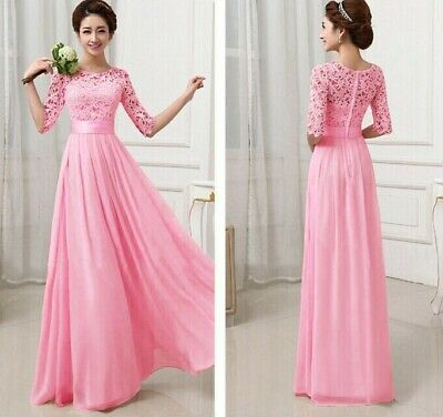 AU8.29 • Buy New Long Chiffon Lace Evening Formal Party Gown Prom Women Bridesmaid Dress 2XL